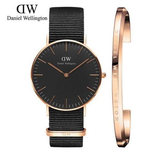 原廠公司貨danielwellington新品丹尼爾惠靈頓女士尼龍帶手錶手鐲2件套裝DW黑色手錶男錶情侶手錶