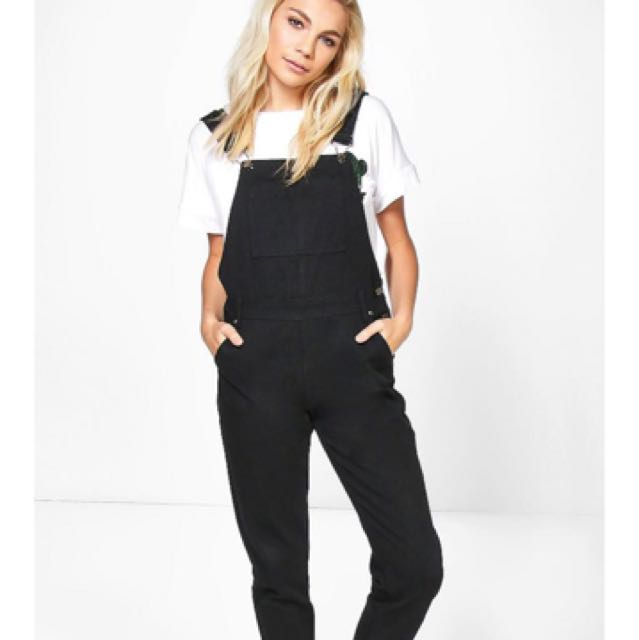Denim black dungarees