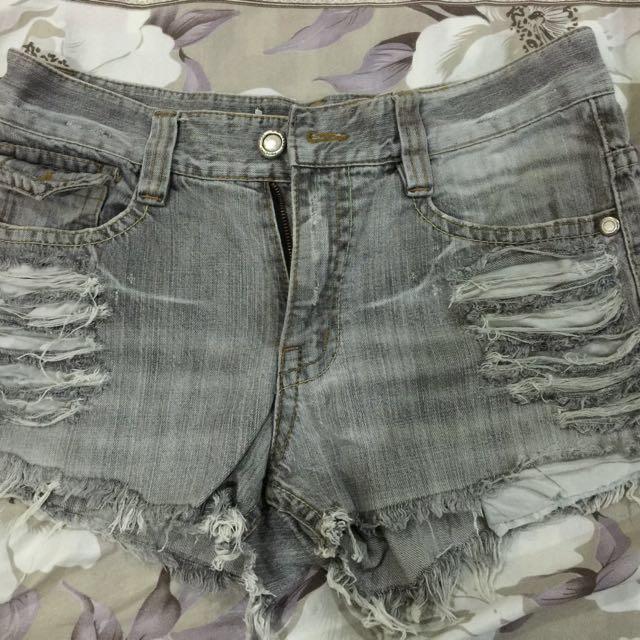 DIY faded black shorts