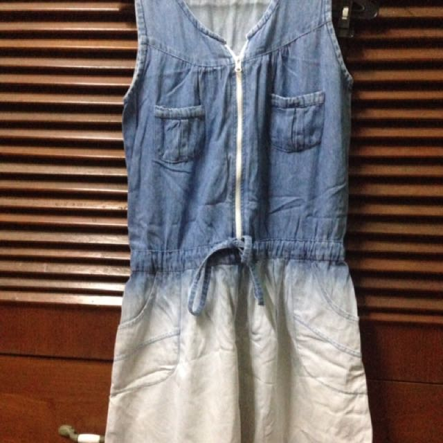 Dress denim gradasi jeans
