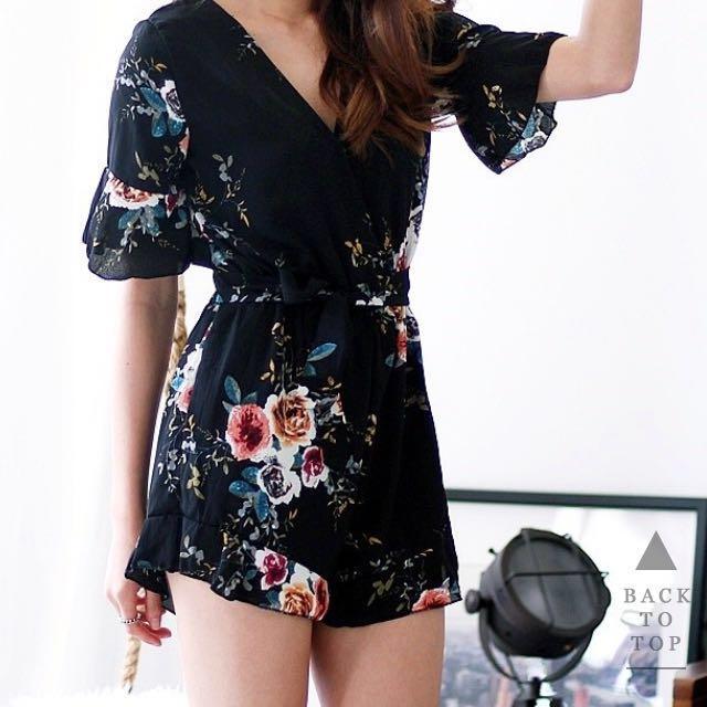 c389d06cb753 Floral kimono jumpsuit style romper sales Korean