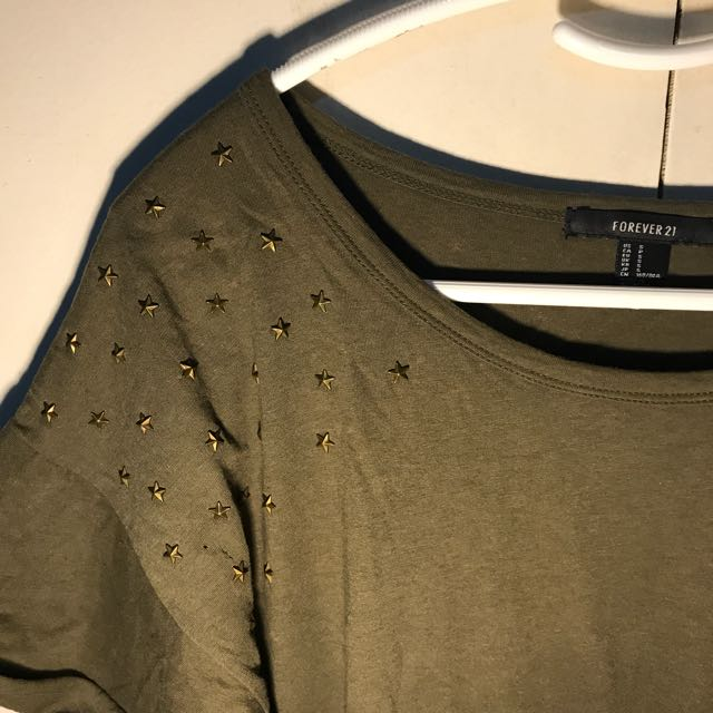 FOREVER 21 Army green shirt with studs