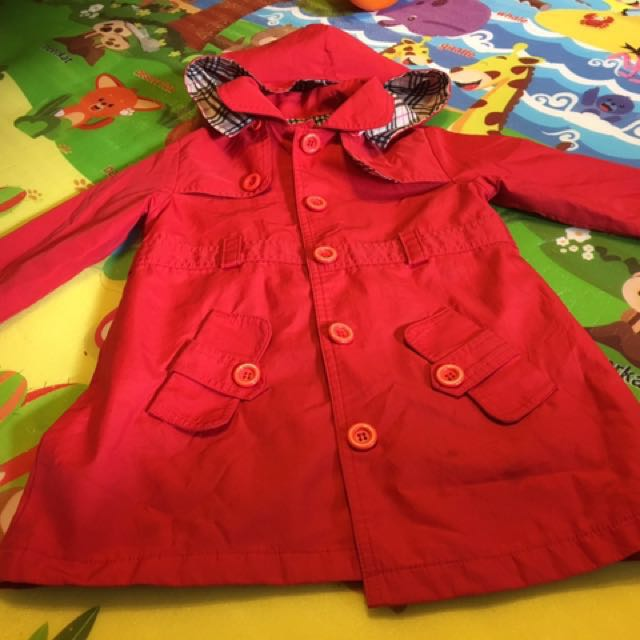 Girl Red Trench Coat Size 5
