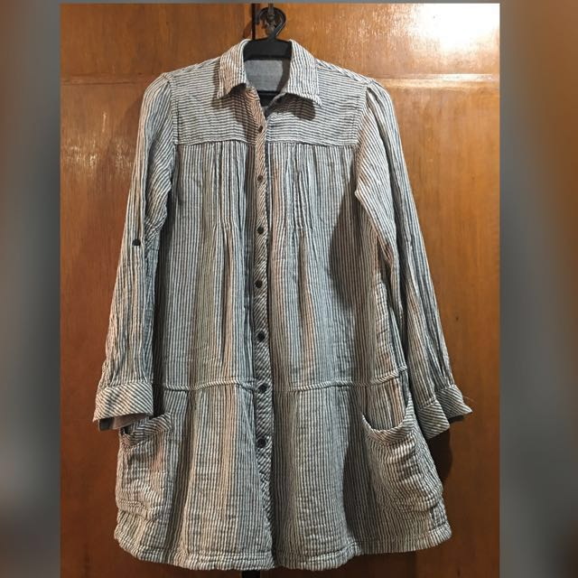 Grey Stripes Long Sleeve Button Top (Plus Size)