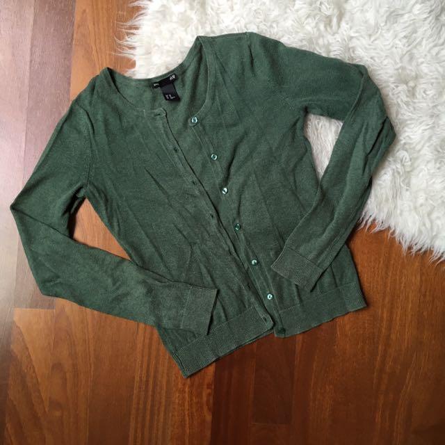 H&M army green cardigan