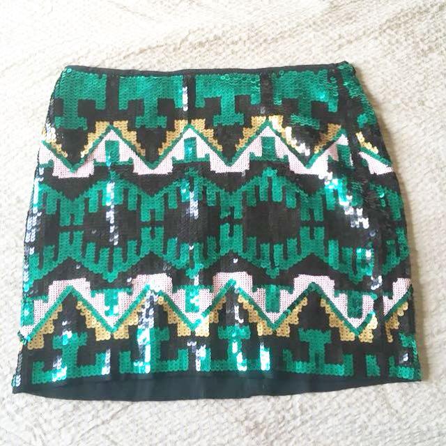 H&M Aztec Sequin Skirt