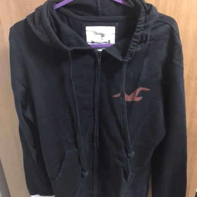 Hollister black hoodie jacket