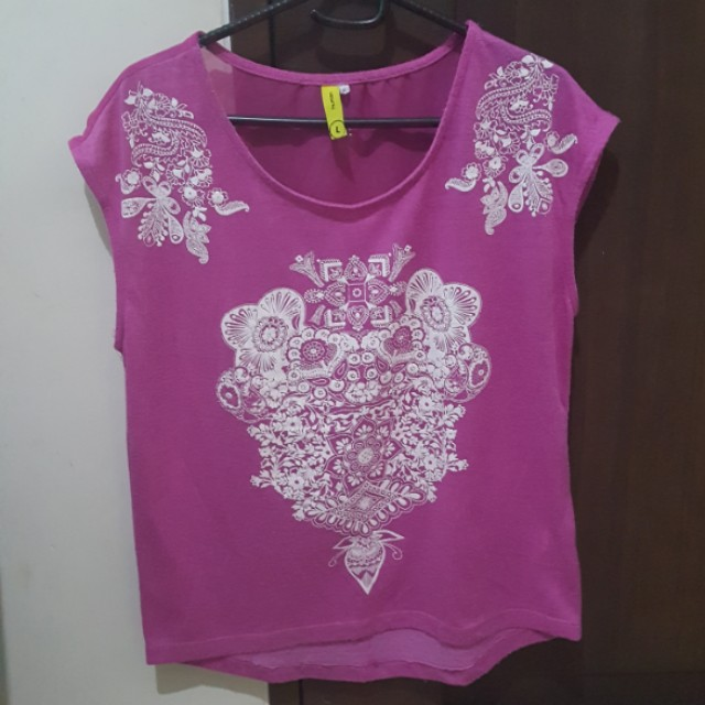 Hot Pink + White Embossed Print Top by Human size L