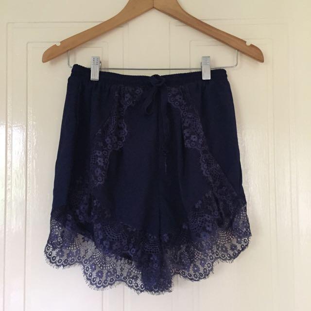 I Like Wolves Navy Lace Shorts