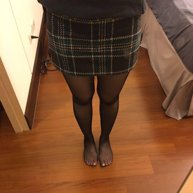 轉賣i'miusa 毛呢綠咖格紋短裙 窄裙