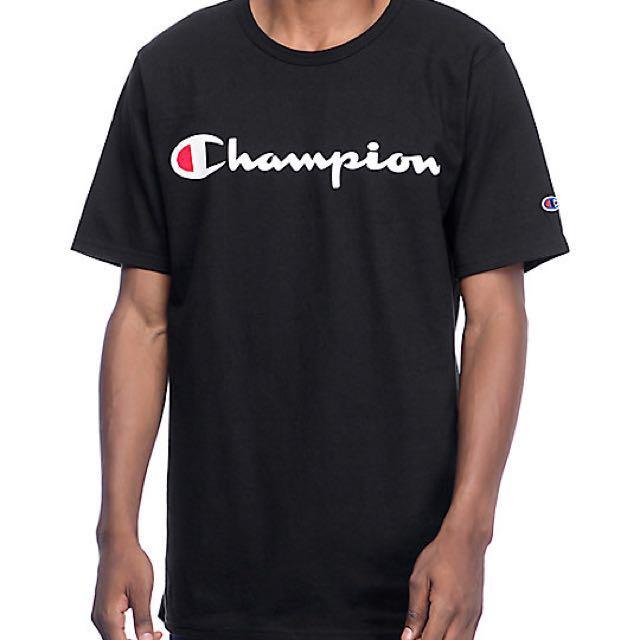 ca746d41 INSTOCK Champion Heritage Script Logo Tee Black, Men's Fashion, Clothes on  Carousell