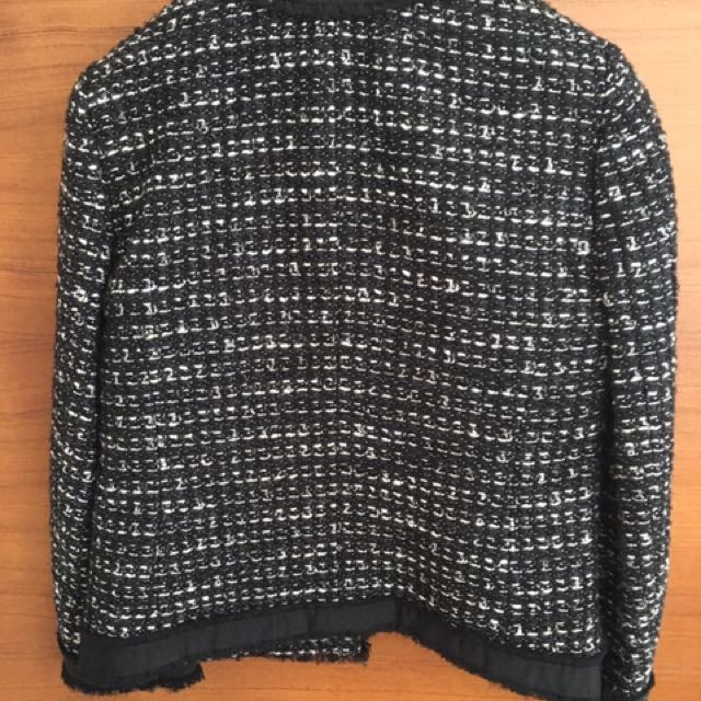 J Crew Black and White Cropped Wool Jacket