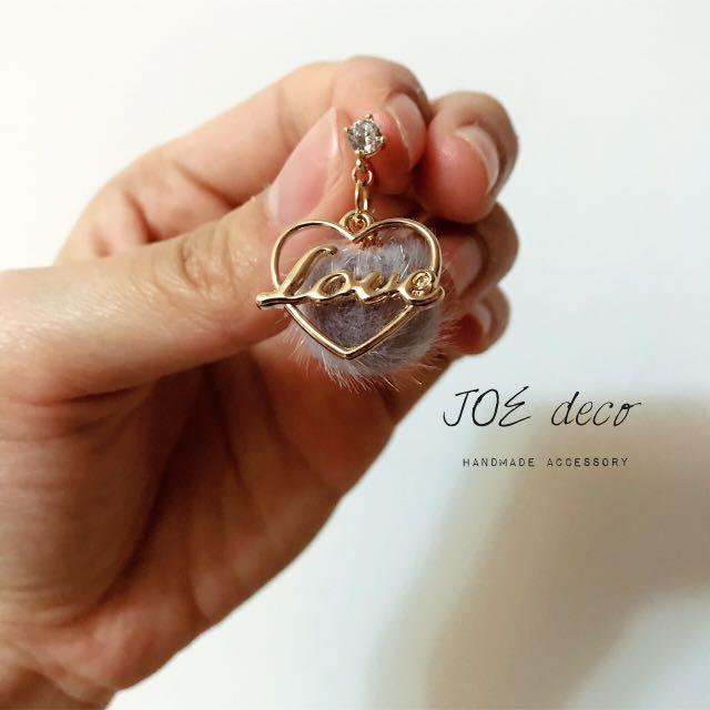 JOE deco💐手作毛絨愛心耳環