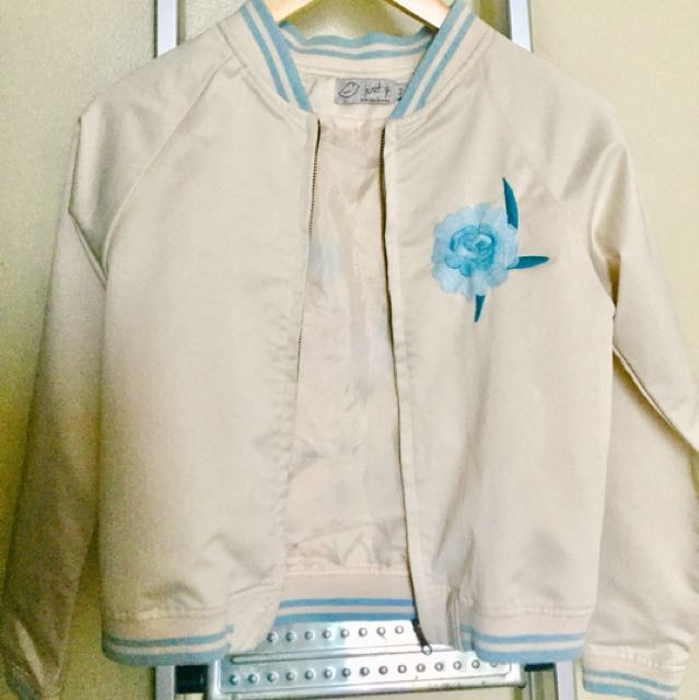 Just G Embroidered Nude Bomber Jacket