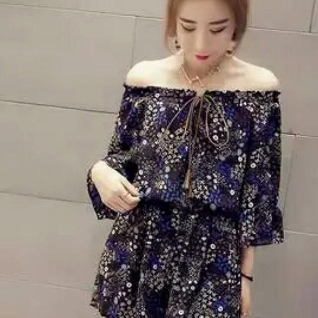 bb3ba7edb34 Korean Fashion Floral Off Shoulder Playsuit Romper