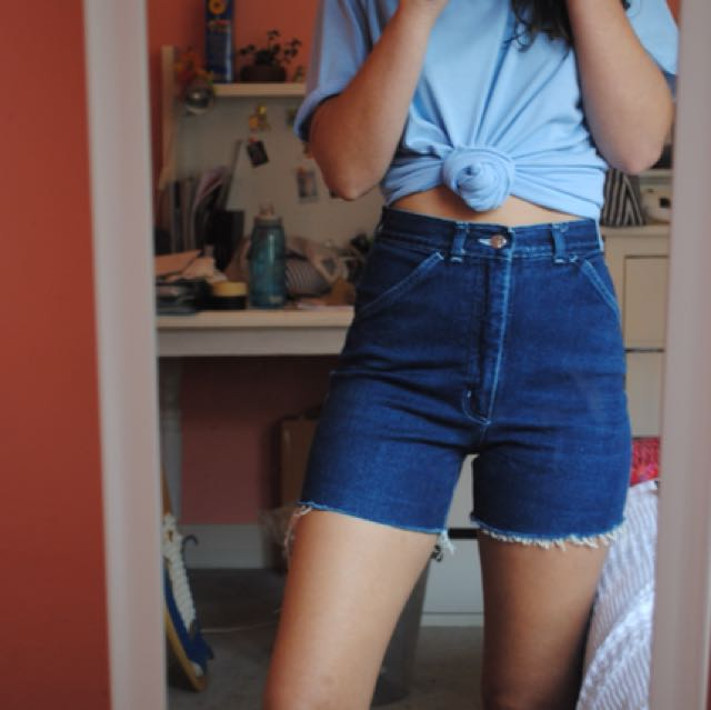 lee high waisted denim shorts