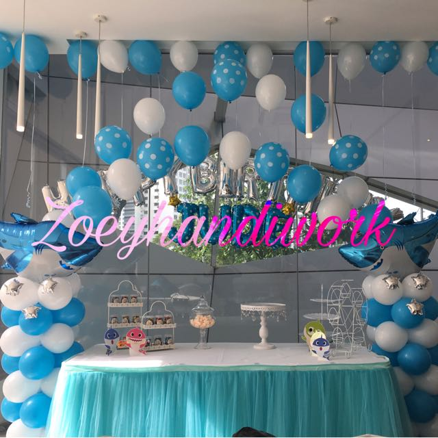 Lovely Baby Shark Themed Balloon Decor Column Arch