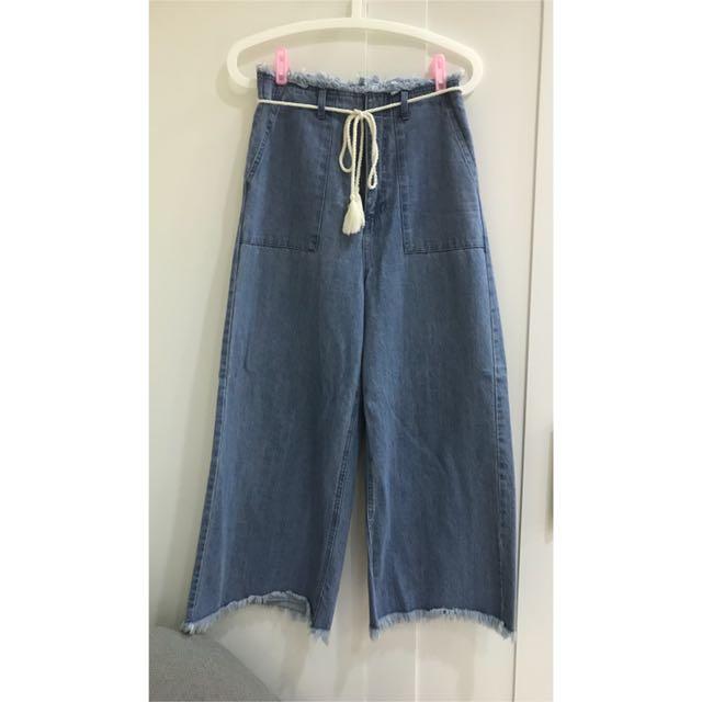 正品Lowrys Form綁帶牛仔寬褲
