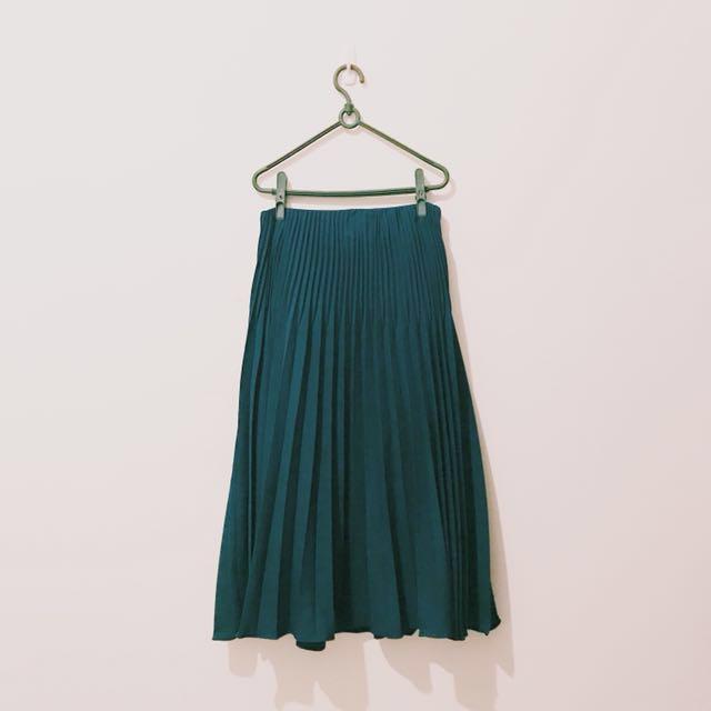 MEIER.Q 秋冬 森林系 綠色 深色 長裙 百褶裙 PAZZO 副牌 過膝裙 S 號