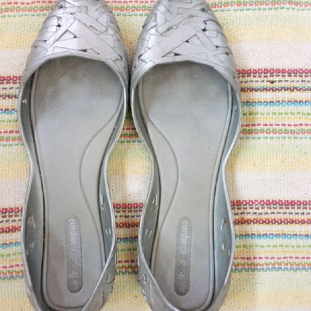Melissa Campana metallic silver jelly flat shoe