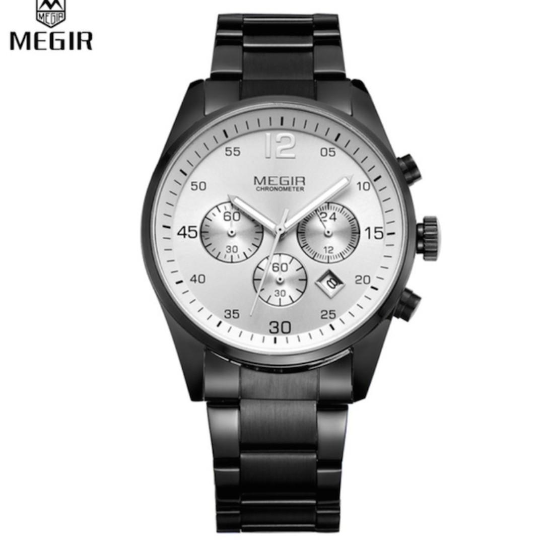 Men Black Full Steel Luxury Watch Men Army Watch Chronograph Function relogio [USED]