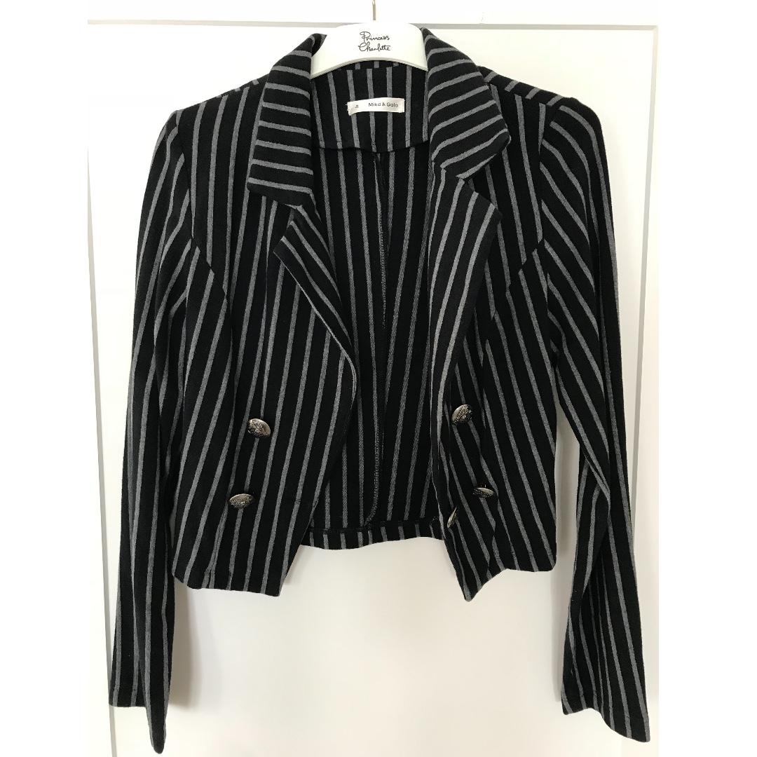 MIKA & GALA Black Blazer with Grey Stripes - Size 8
