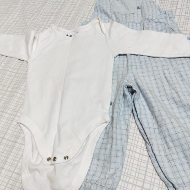 Mothercare 專櫃包屁衣+淺藍格子吊帶褲