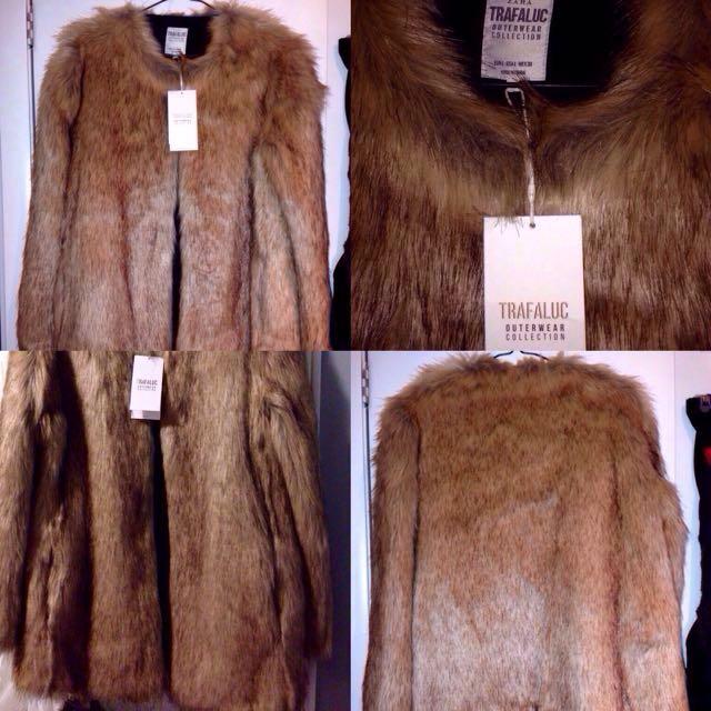 NEW Zara Beige Faux Fur Coat