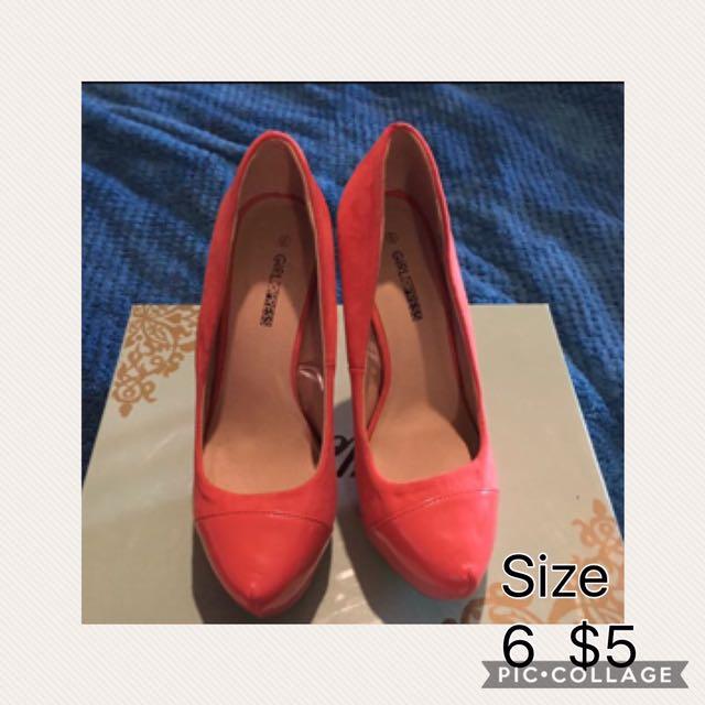 Orange heels size 6