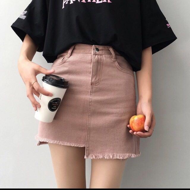 4e978c5f3 pink denim skirt / white ripped denim mini skirt, Fesyen Wanita, Pakaian,  Bottoms di Carousell