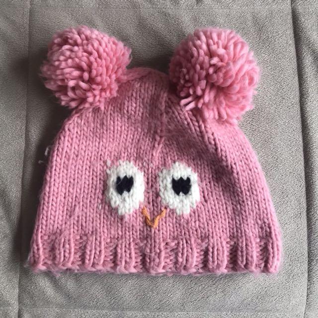 pink owl beanie