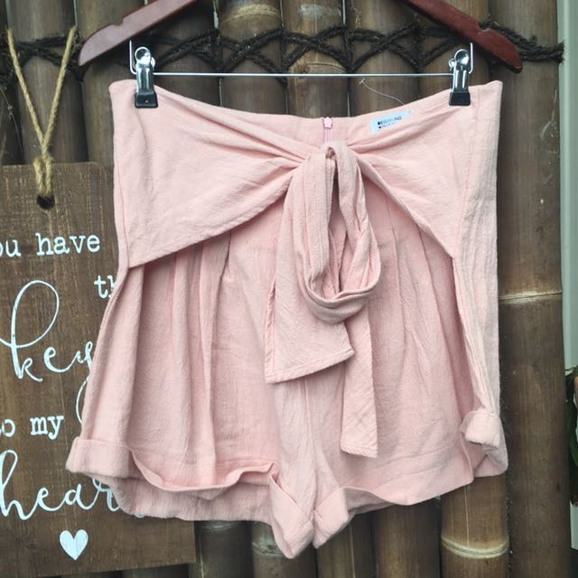Pink tie up shorts