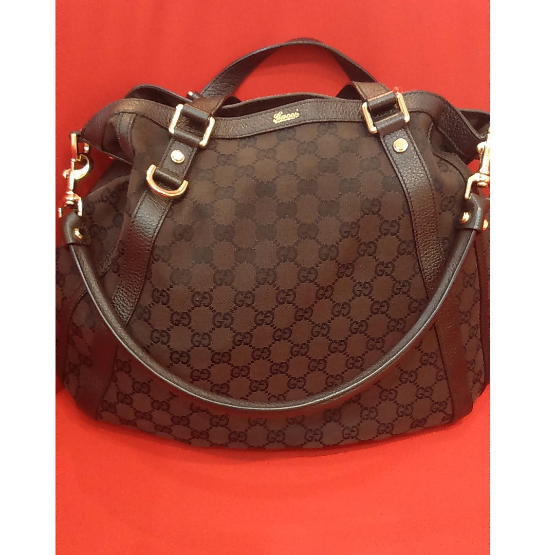 4953c6b2d06 Pre Loved GUCCI Brown GG Canvas Abbey Convertible Hobo Bag