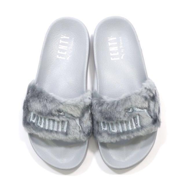 sports shoes 2e058 a73a7 PUMA Leadcat Fenty Fur Slides by Rihanna Quarry/Silver