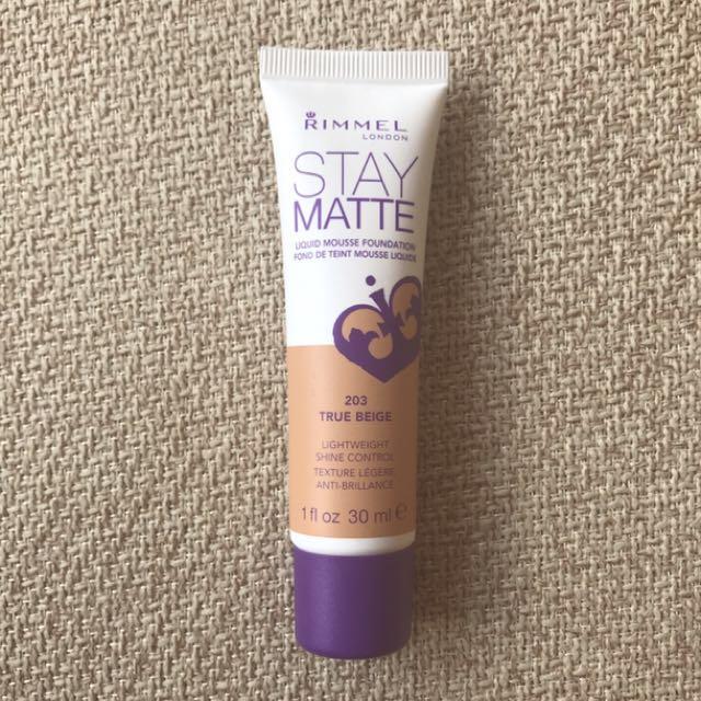 Rimmel Stay Matte Liquid Mousse Foundation - 203 True Beige, Health & Beauty, Makeup on Carousell