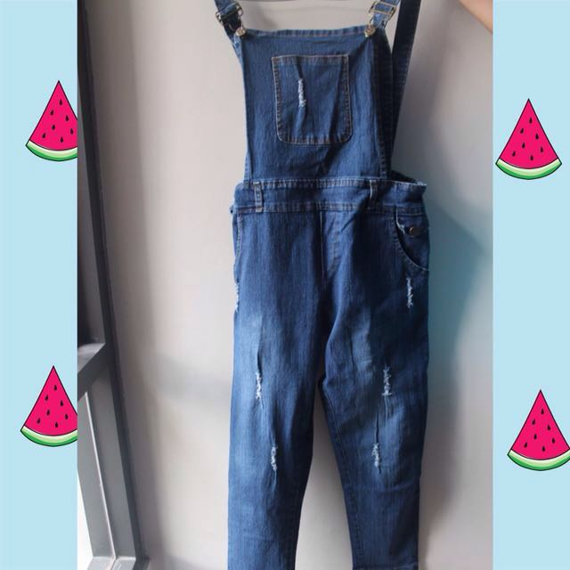 Ripped Overall Denim