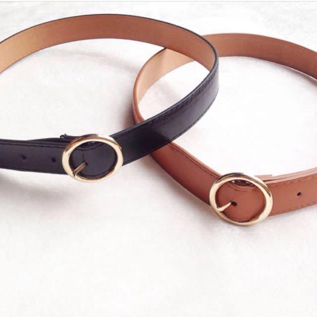Round leather belt