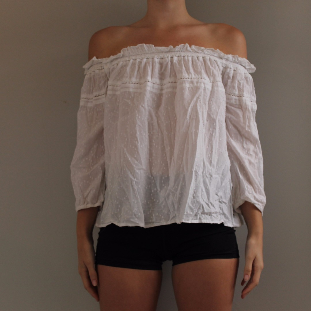 Roxy off the shoulder white top