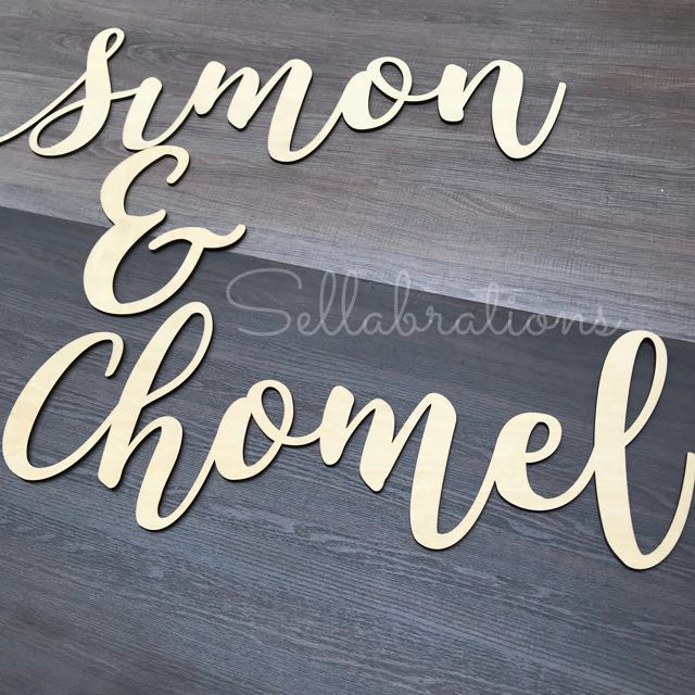 Sellabrations Customised Calligraphy Name Signs Wood Cutout Laser