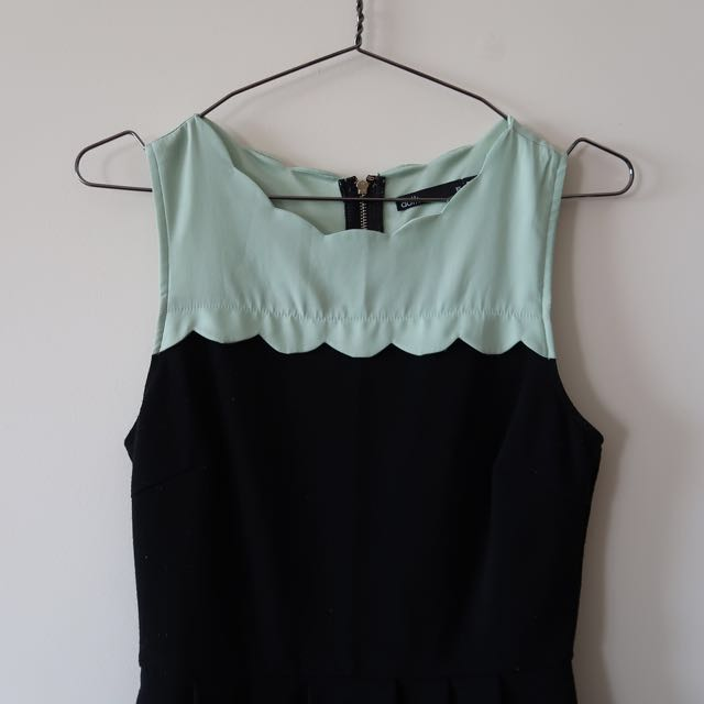 Simple Dress with Mint Scallop Detailing