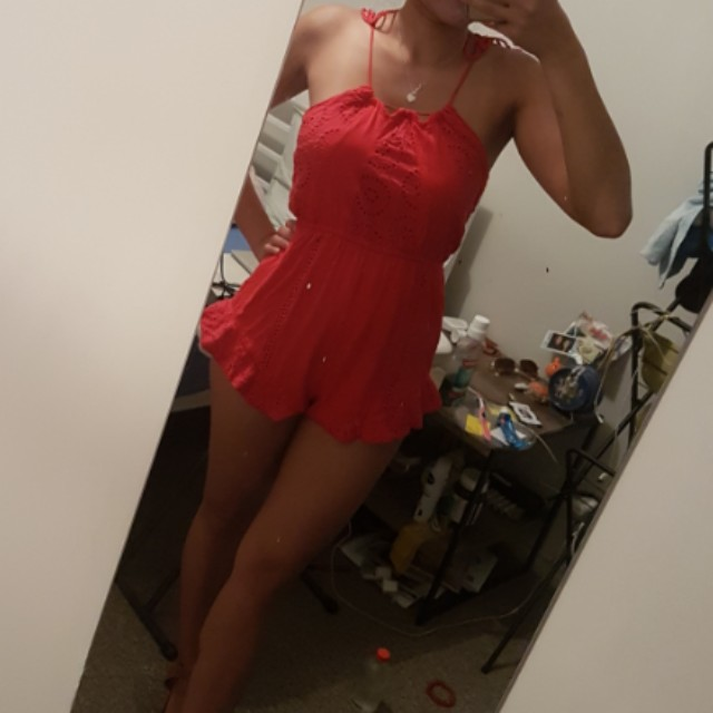 Size 6 red playsuit