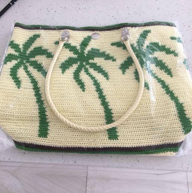Skipping Girl Beach Bag Palm Trees