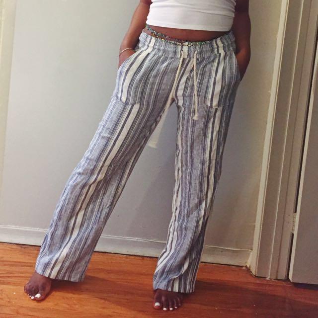 Striped Linen Lounge Pants