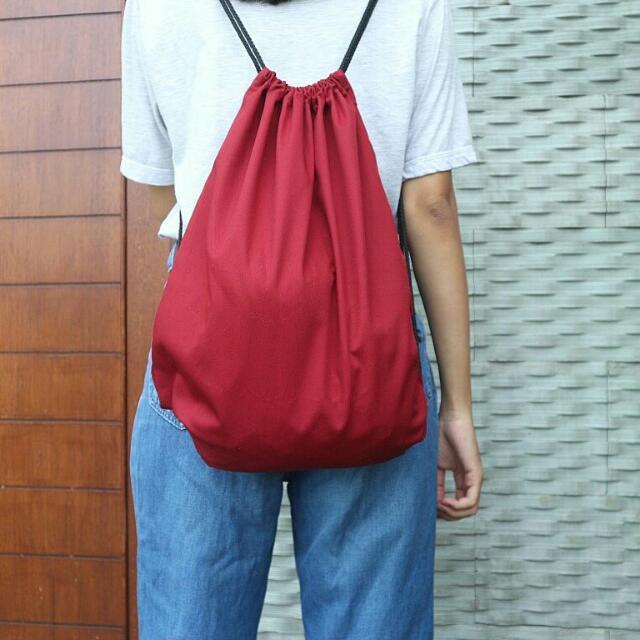 Tas Serut Drawstring Bag Polos Christmas Edition
