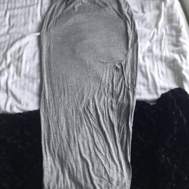 Tight Grey High Split Skirt