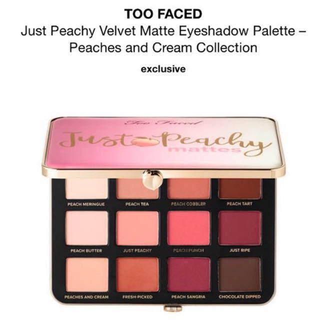 Too faced just peachy velvet matte eyeshadow palette