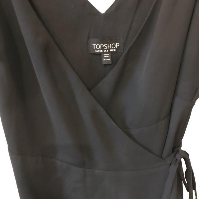 Topshop black wrap dress