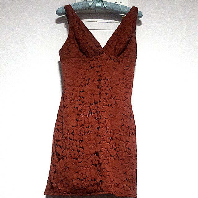 Topshop Sexy Brown Lace Cleavage Dress Women S Fashion Clothes