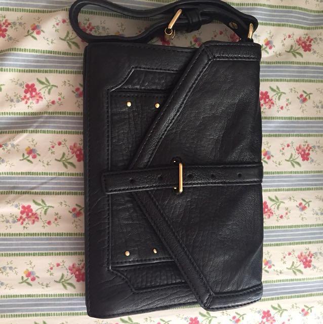 Tory Burch Leather Clutch - Black