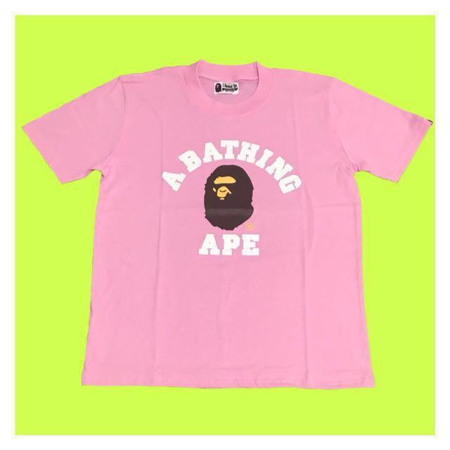 Tshirt Bape college pink rose exclusive tee hypebeast bathing ape